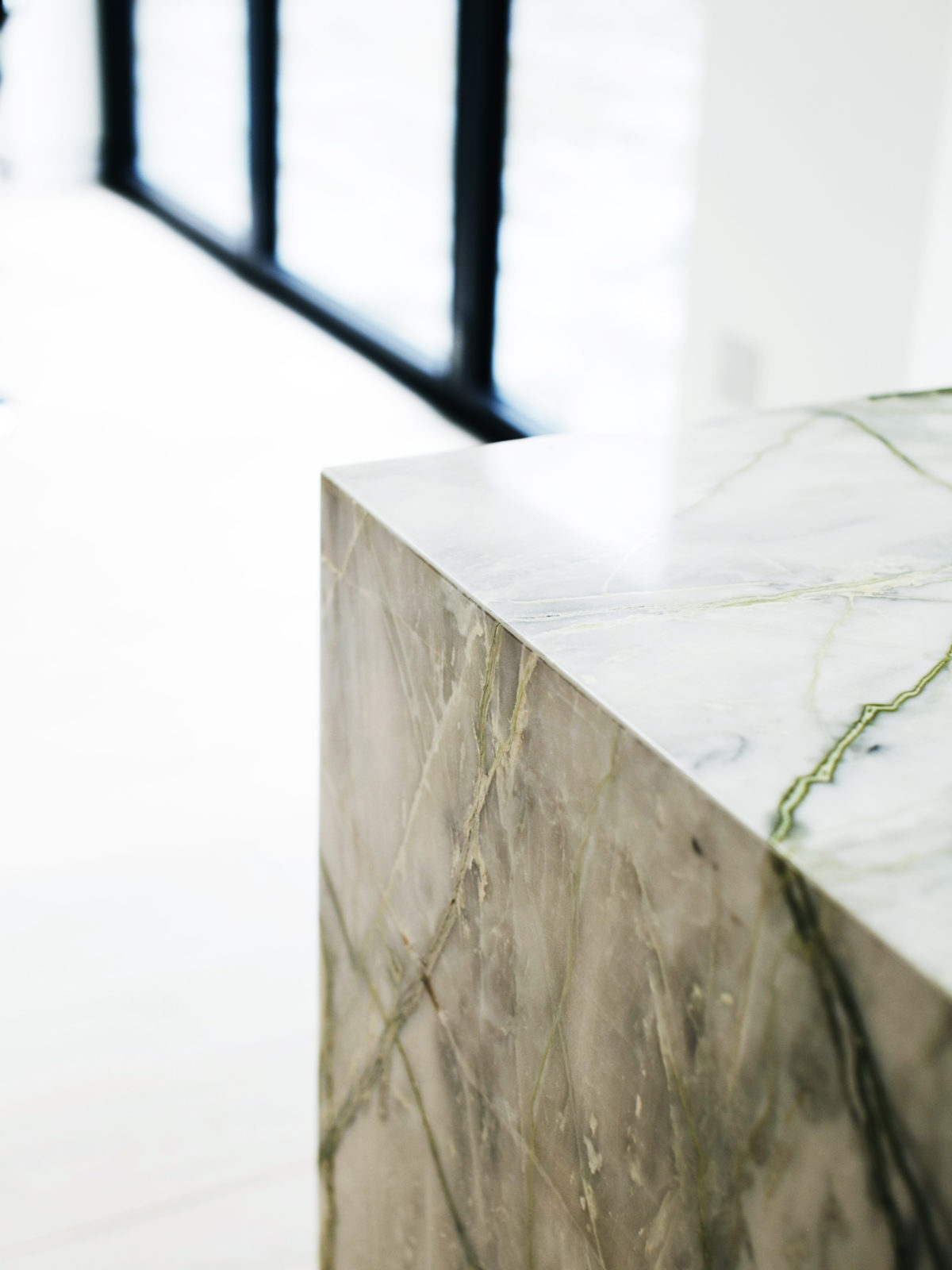 wrapped Calatta marble detail
