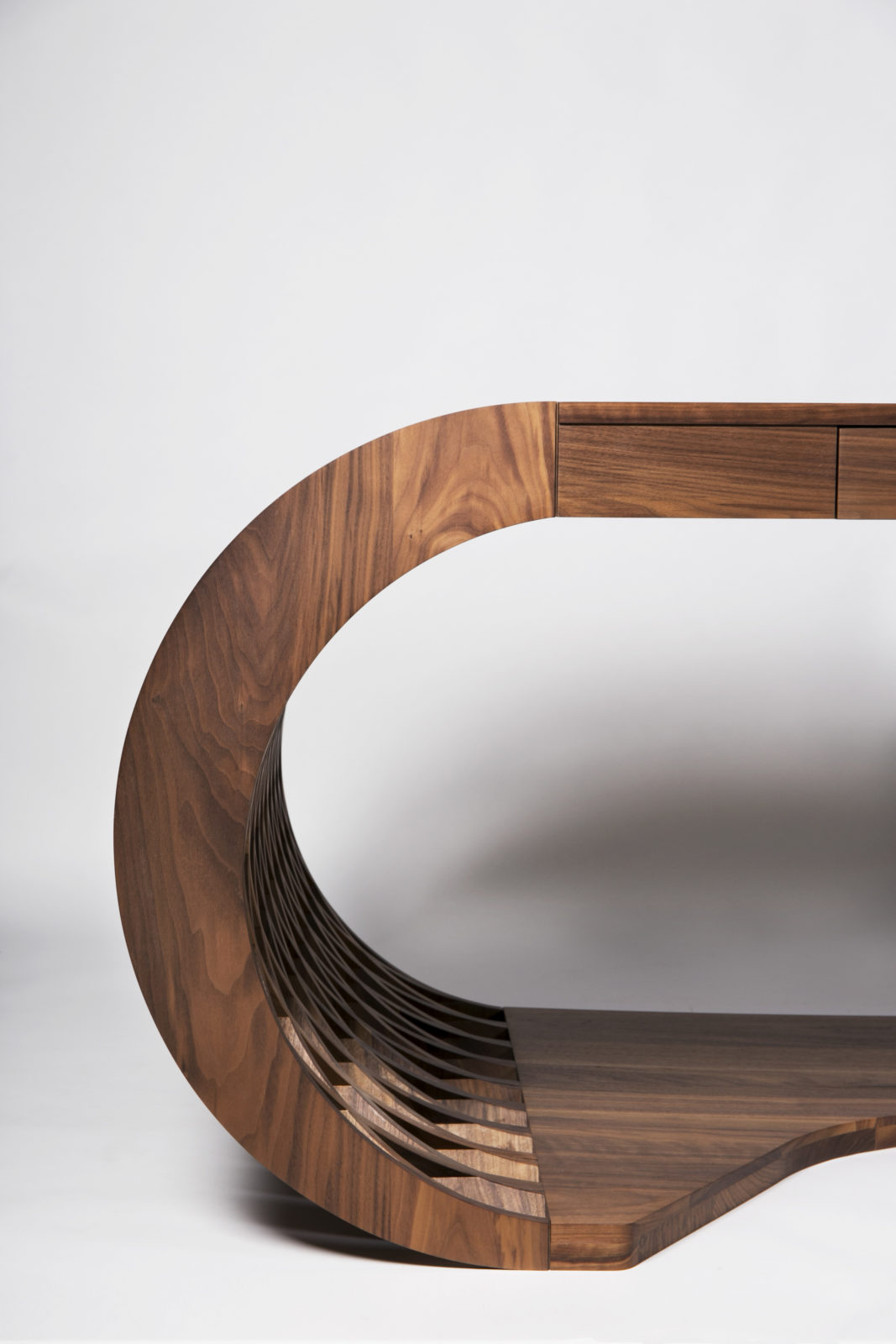 curved bespoke walnut desk profile