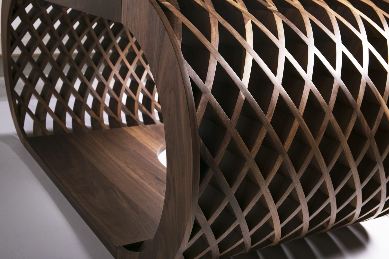 Curved oiled solid walnut criss-cross pattern