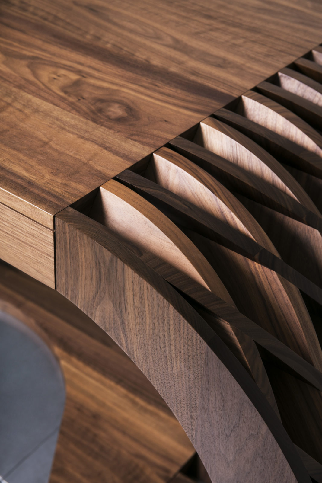 Solid walnut desk worktop detail