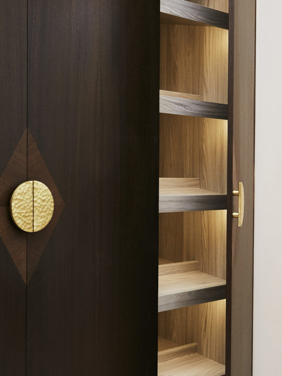 Shoe storage wardrobe with LED lighting