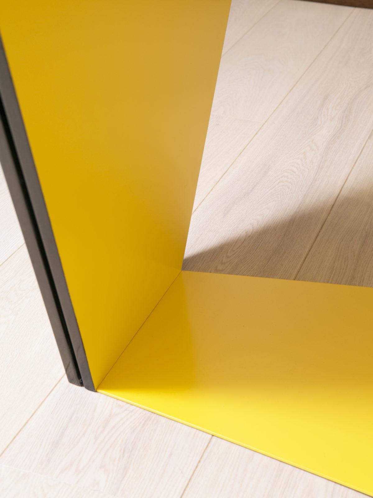 built in desk flush with floor