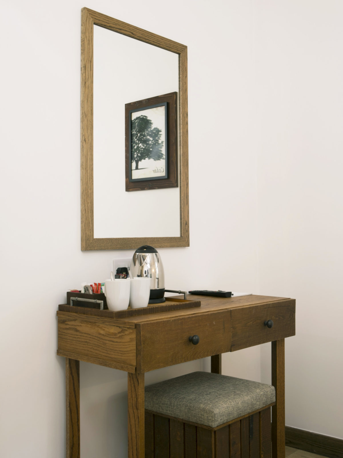 Rustic look oak side table
