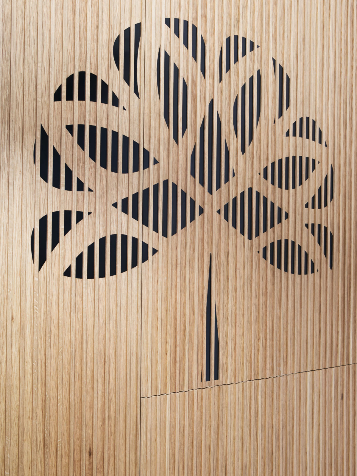 oak doors with black resin logo detail
