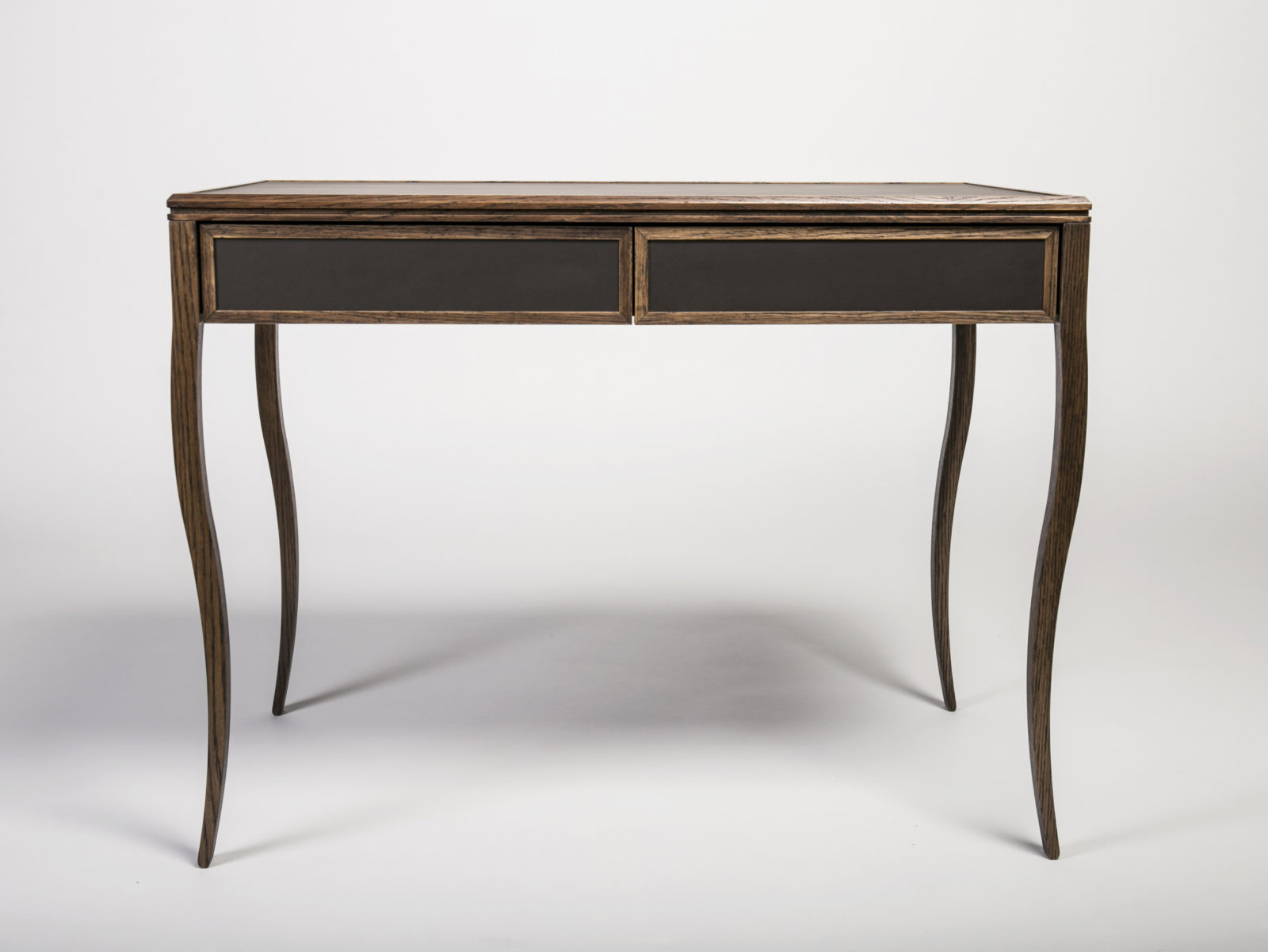 Stained solid oak desk with leather detail
