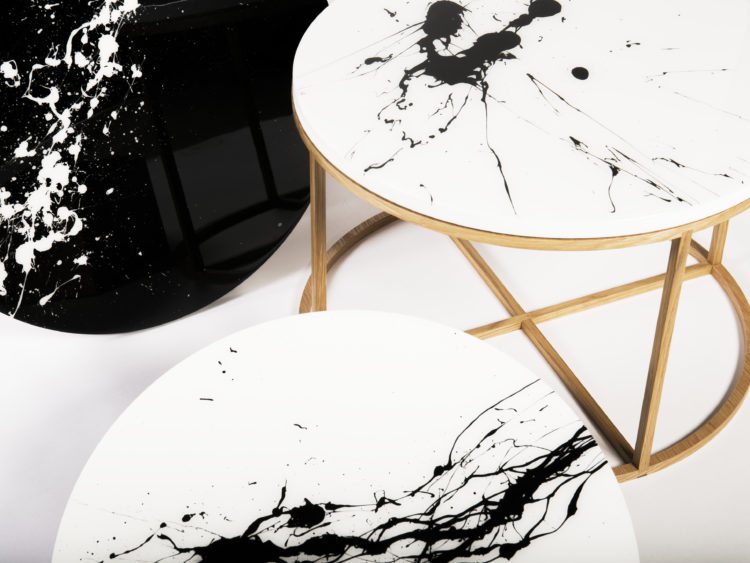 Black and white splash paint coffee tables