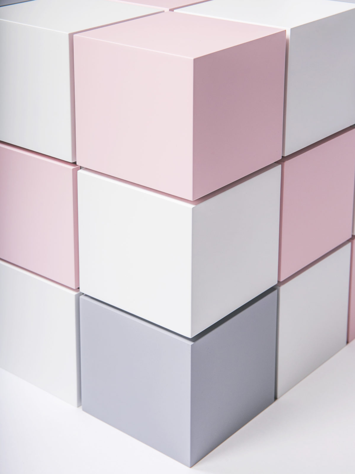 Lacquered Rubik's cube squares detail