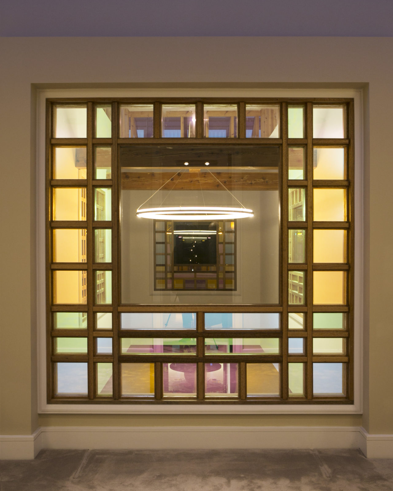 Dichroic glass and meranti frame internal window