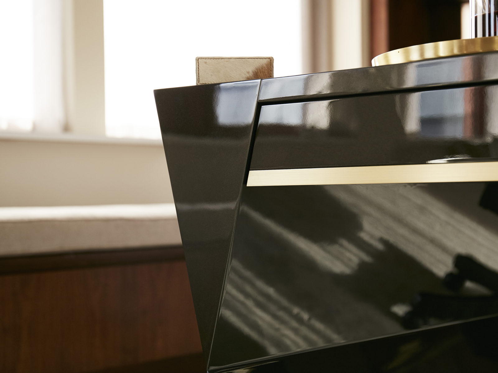 Satin brass inlay drawer front detail