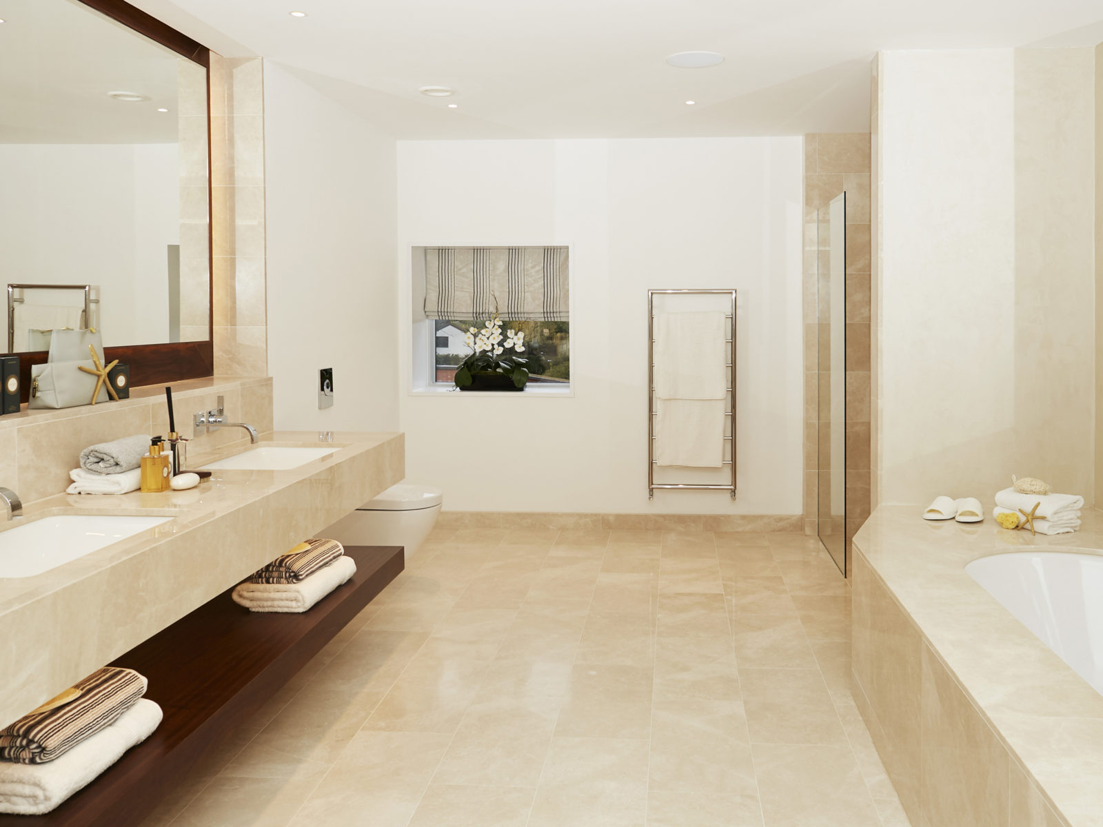 Camila classic marble and walnut bathroom