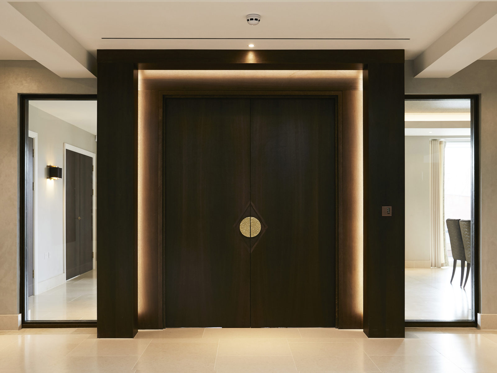 bespoke doors with frame and LED lighting surround