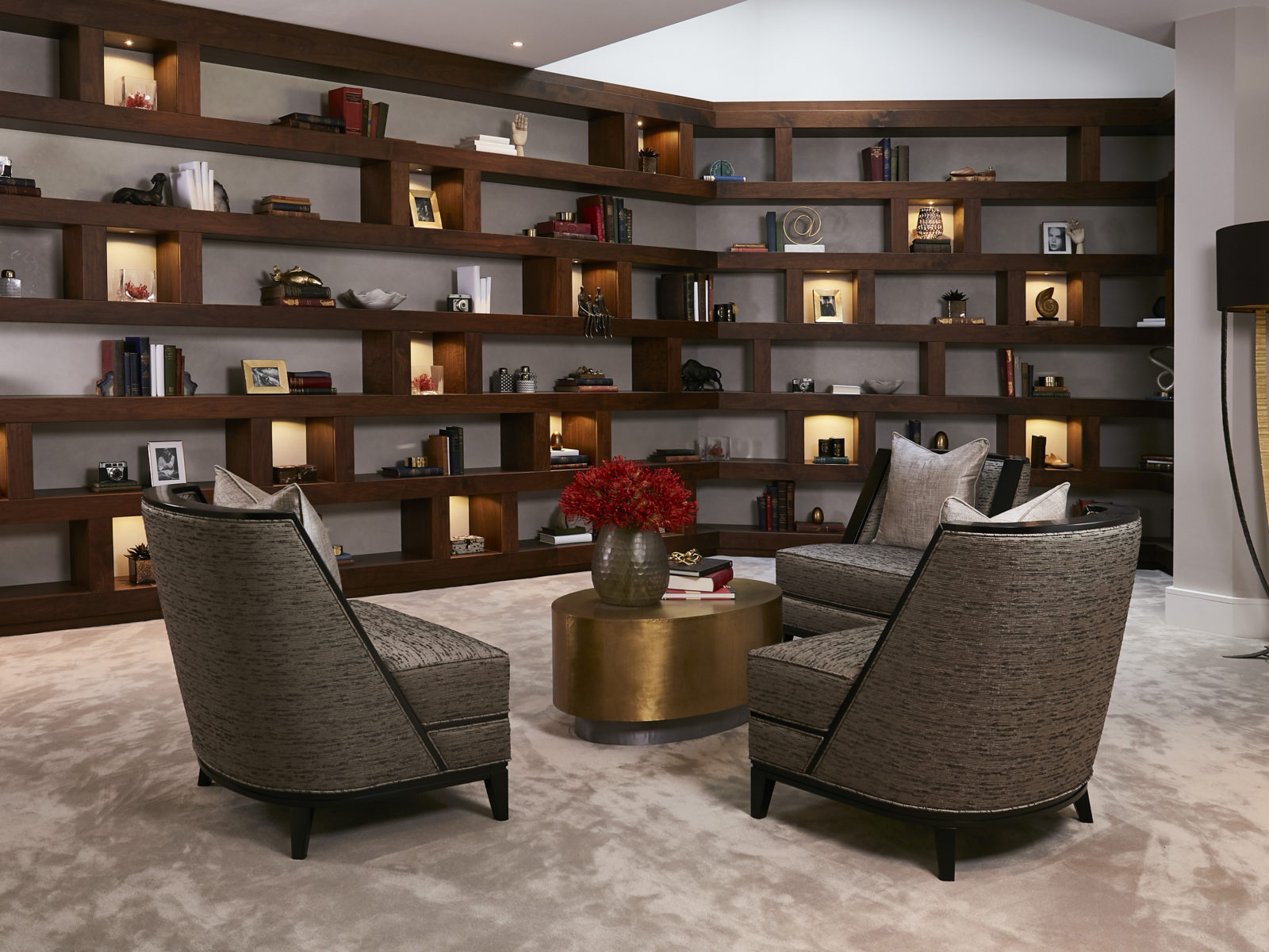 Bespoke walnut library at windsor house