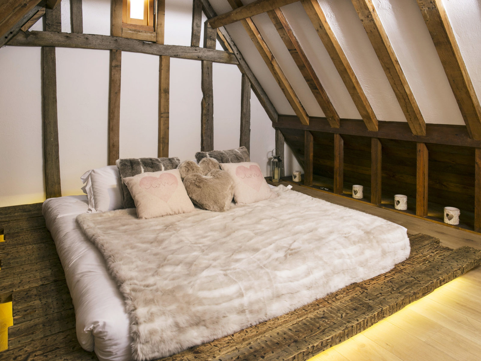 Solid oak bespoke honeymoon bed