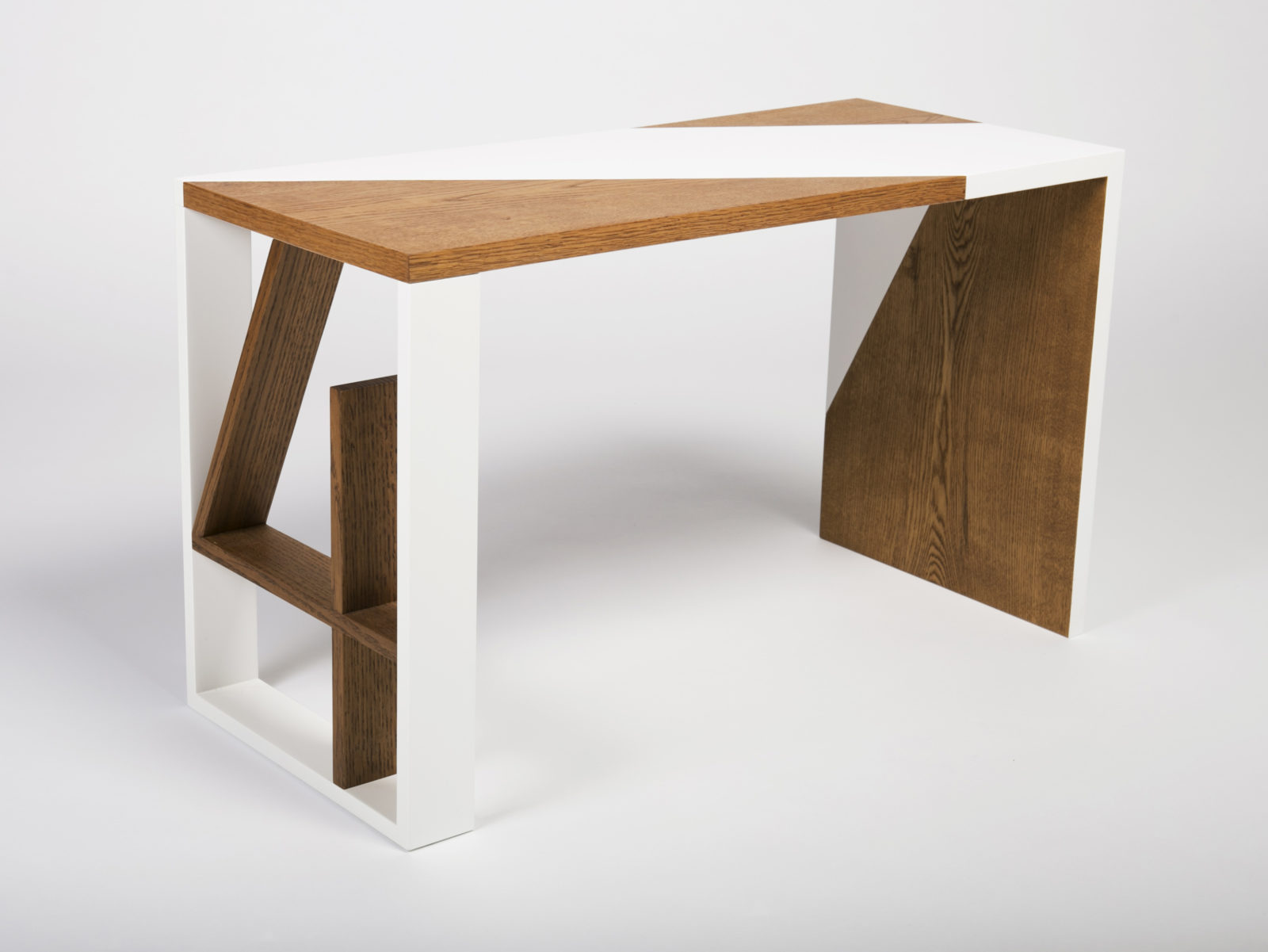 Oak and lacquered desk