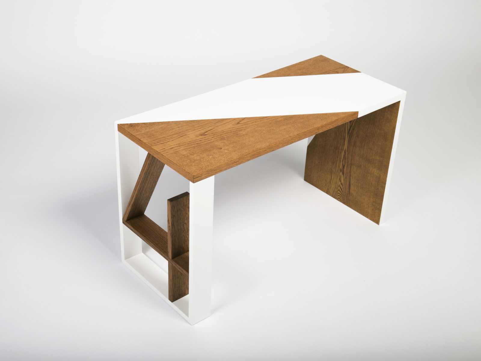 Oak veneer, solid oak and white lacquered bespoke desk