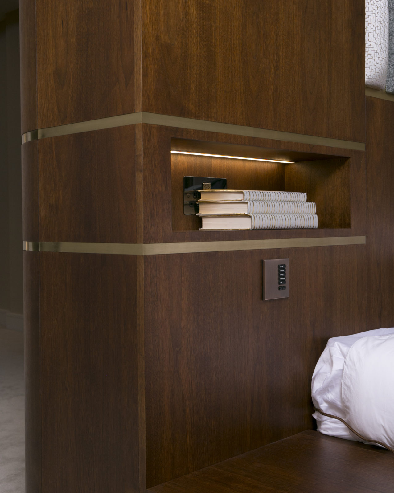 Master bed bedside table and niche detail