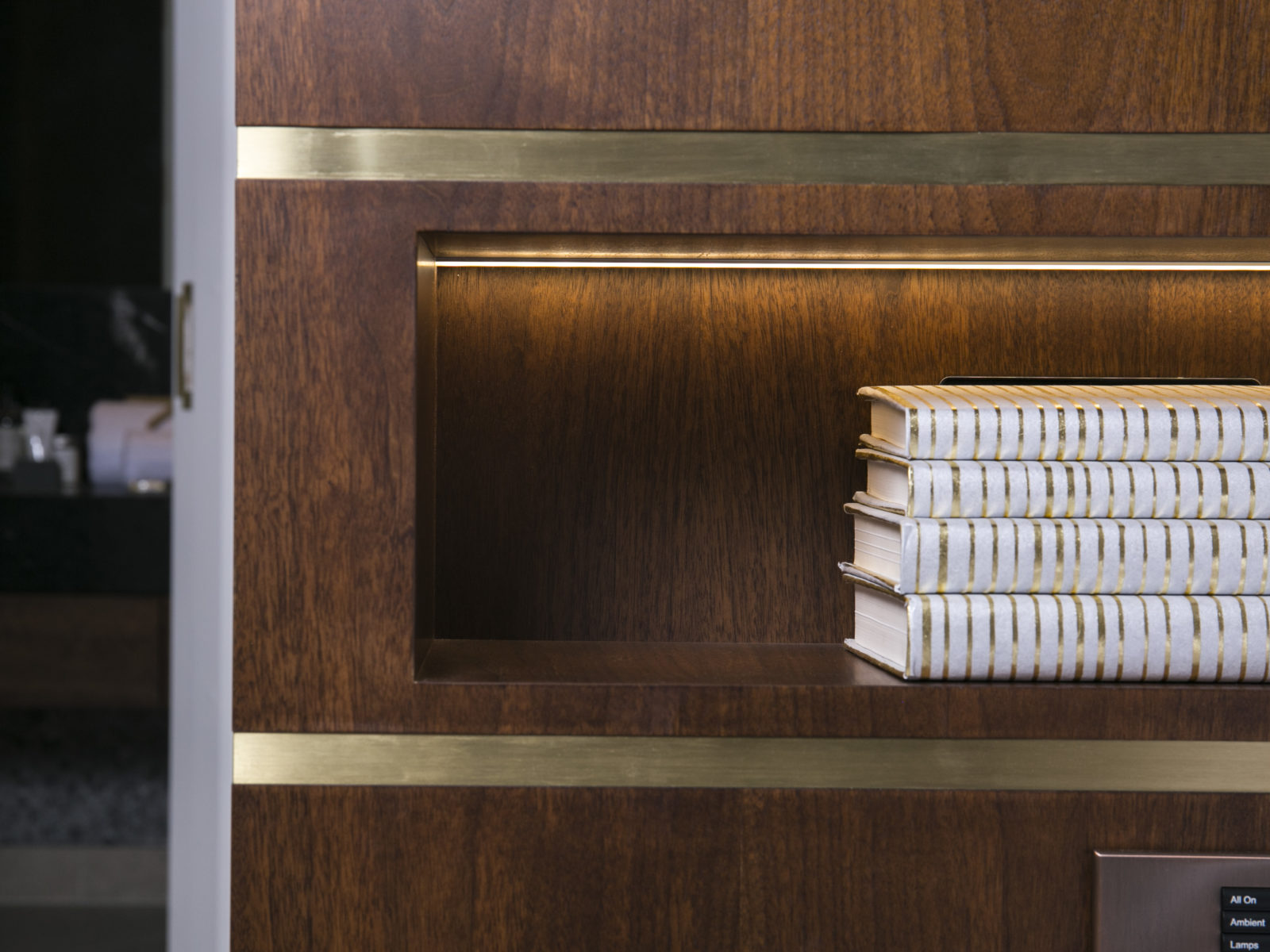 Niche with LED lighting and satin brass strips