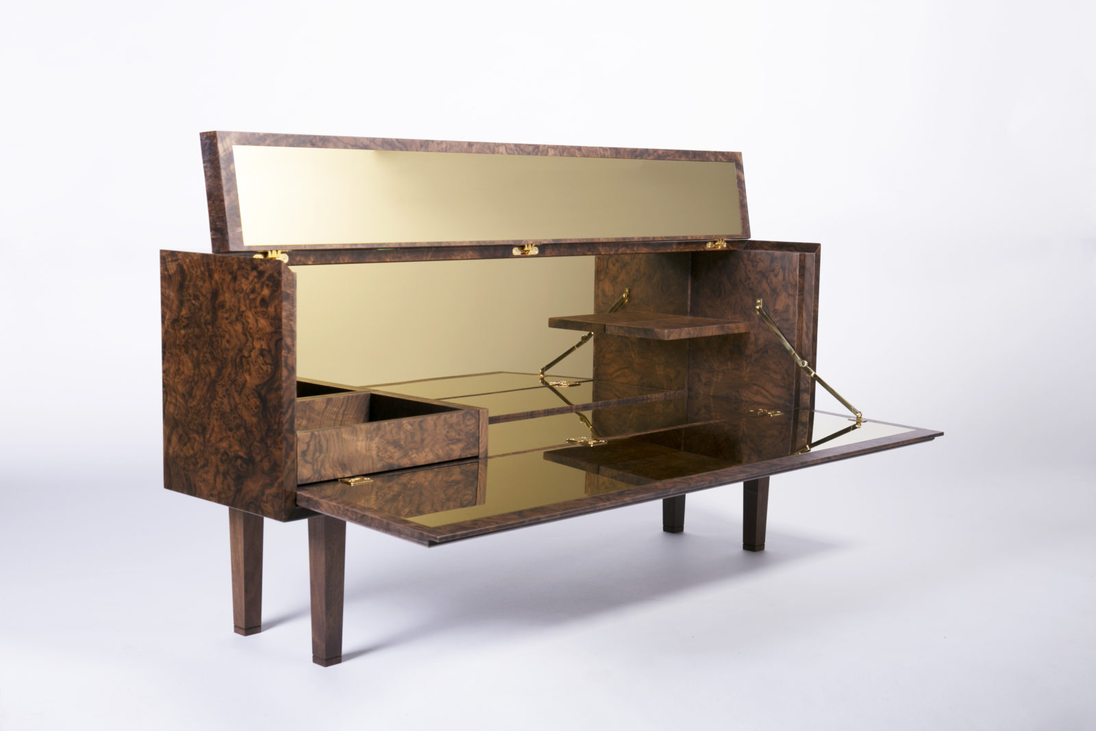 Open walnut burr veneer bar unit brass interior