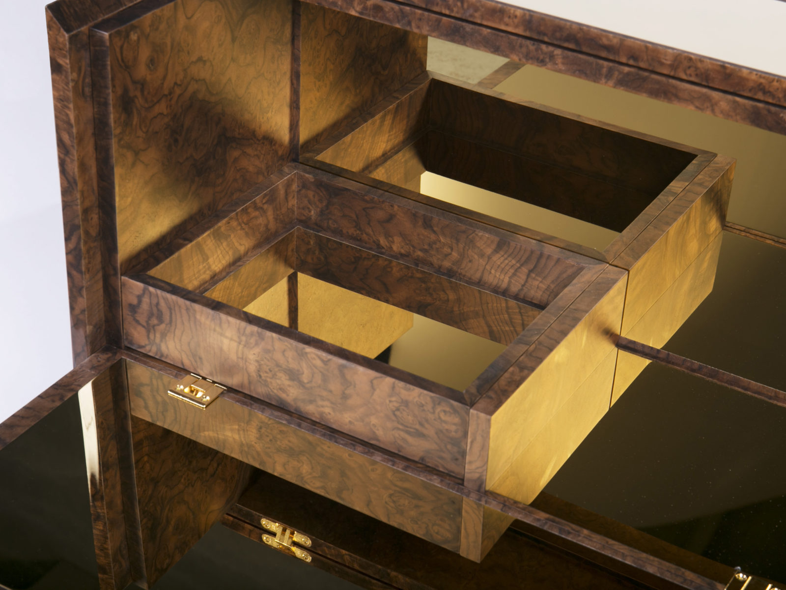 Walnut burr drawer with metal bottom
