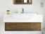 Oak vanity unit with Corian worktop and built-in sink