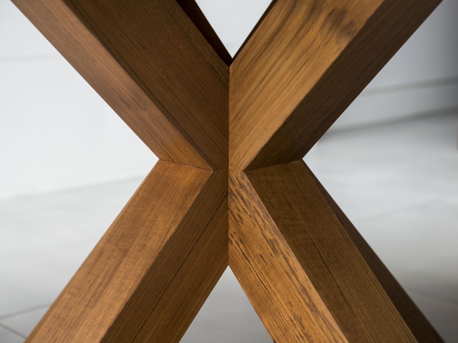 Solid teak X dining table leg with steel internal frame