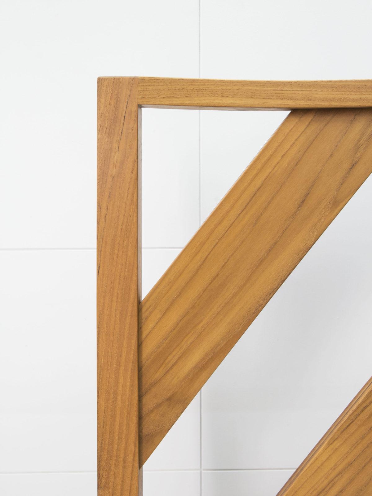 solid teak chair back detail