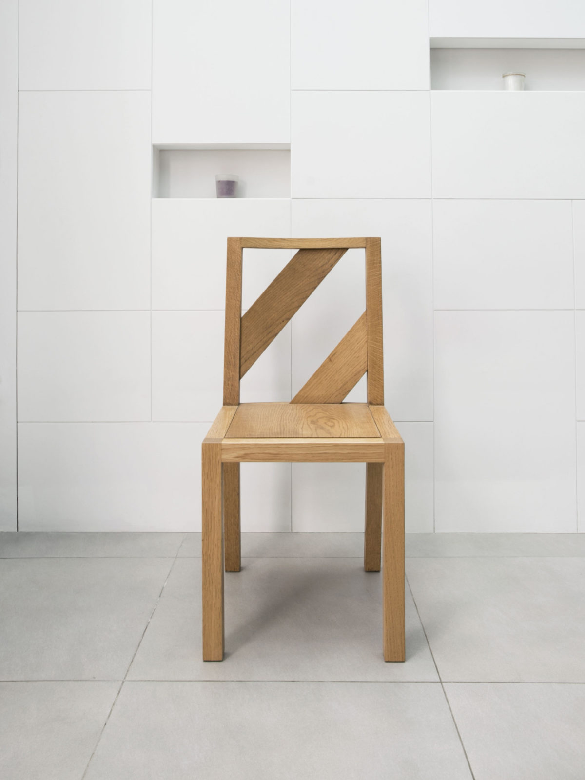 solid oak chair with oak back strips