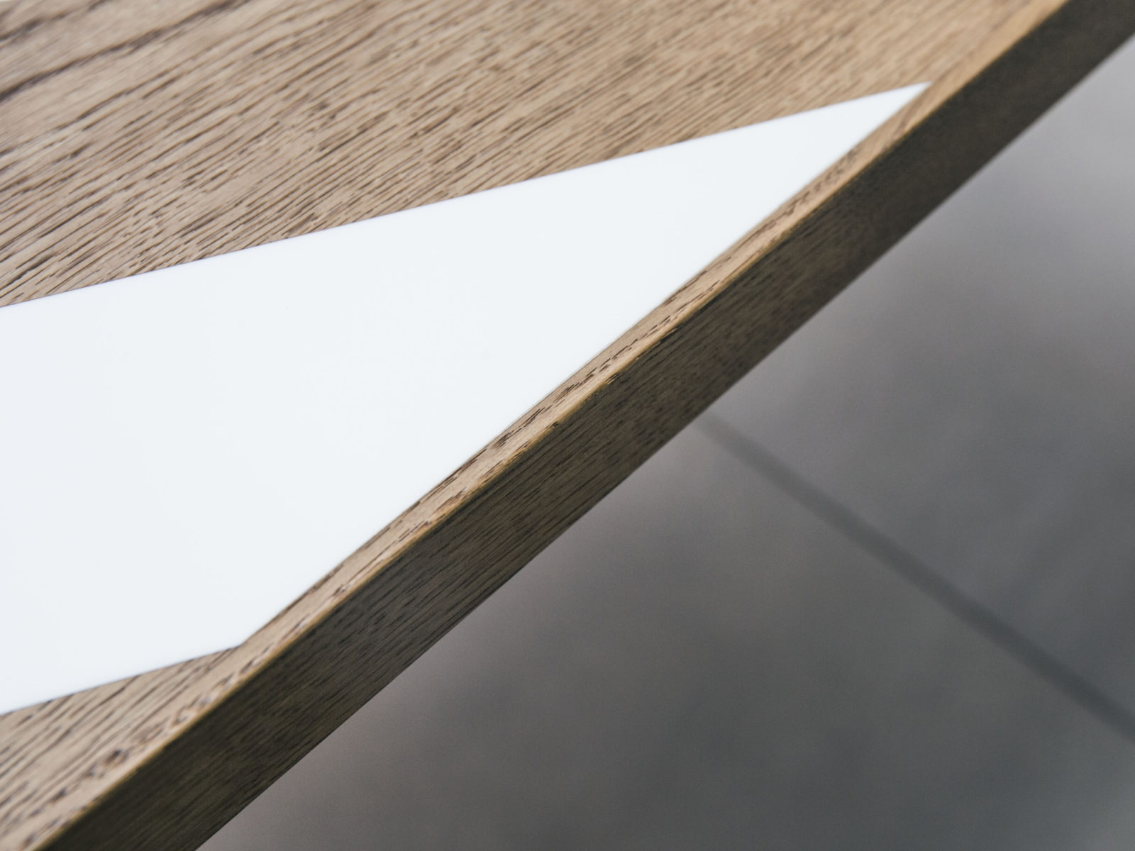 Oak and Corian inlay detail