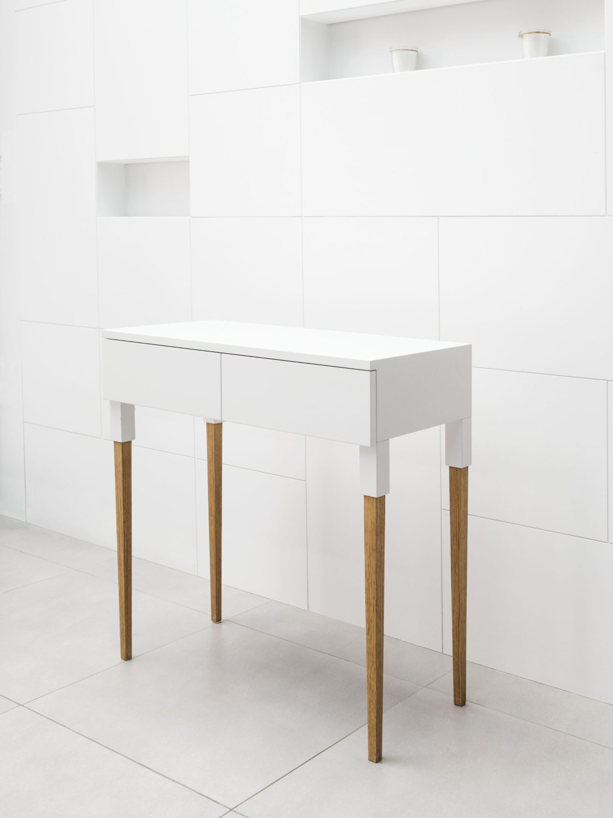 Off white side table with solid oak legs