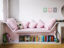 kids bespoke lacquered book shelf seating with cushions