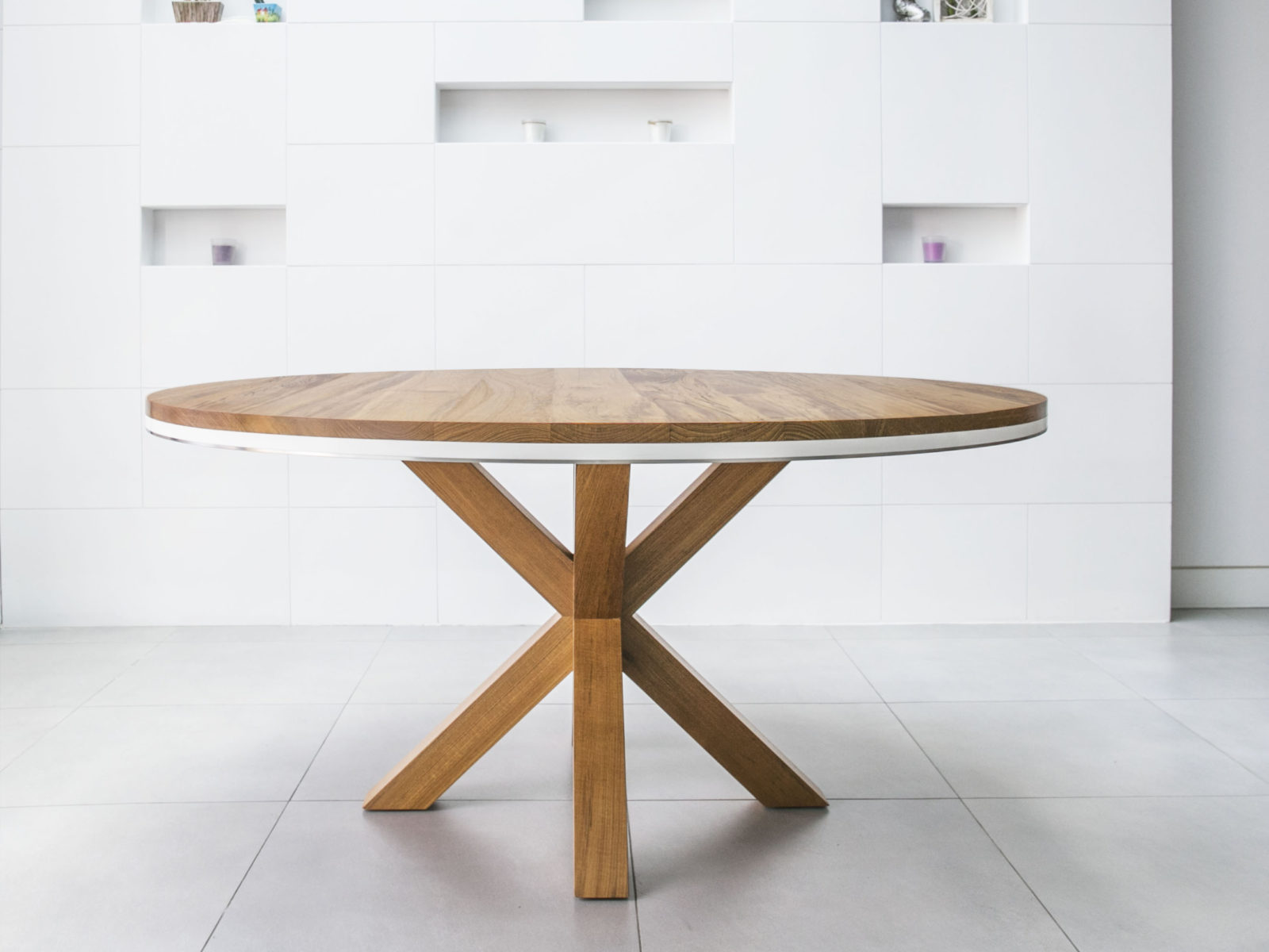 Round teak dining table with X solid legs