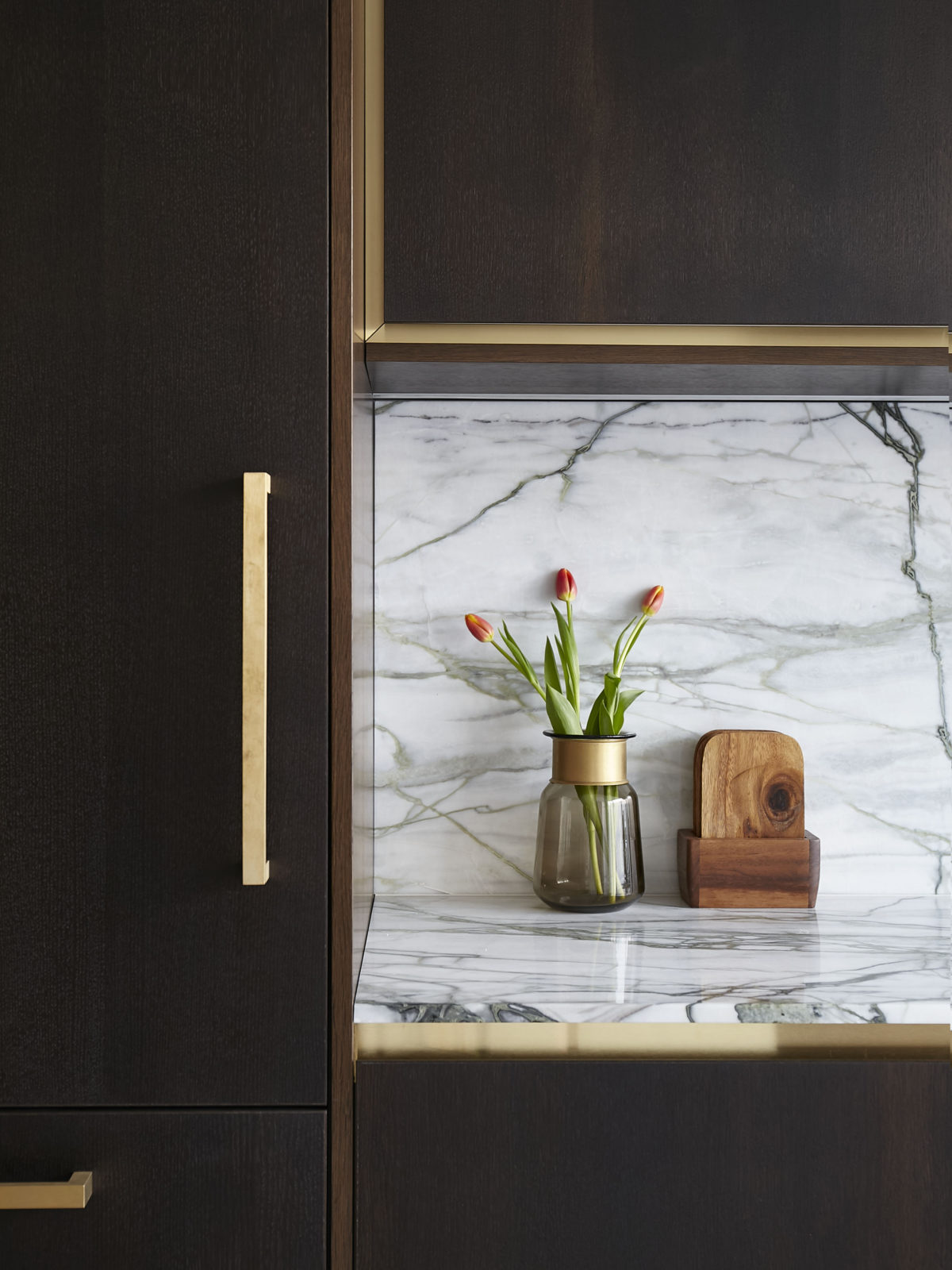 fumed oak kitchen, calacatta marble, satin brass bespoke handles, handless kitchen units