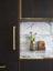 fumed oak kitchen, calacatta marble, satin brass bespoke handles, handless kitchen units