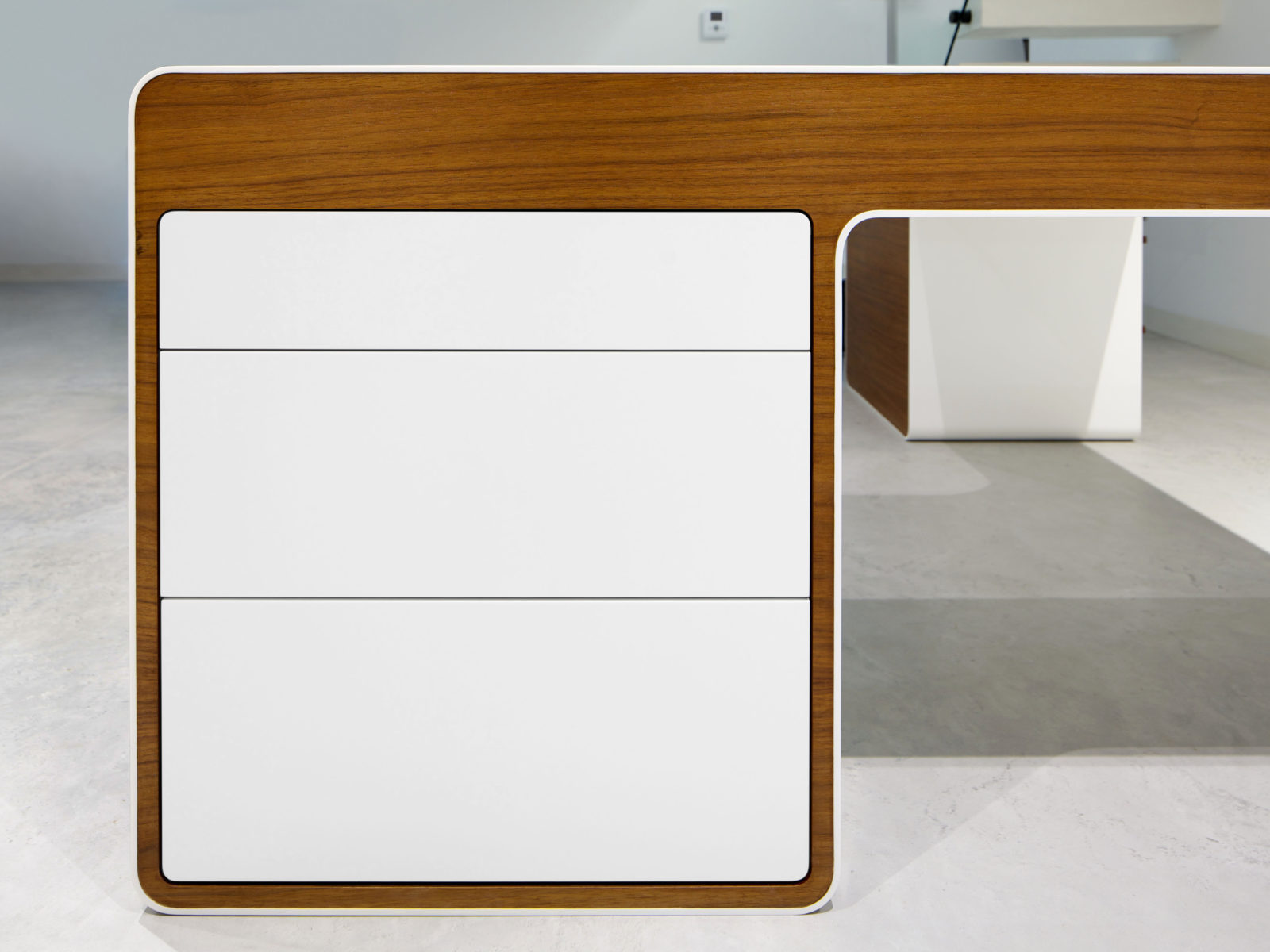 handleless Corian front drawers
