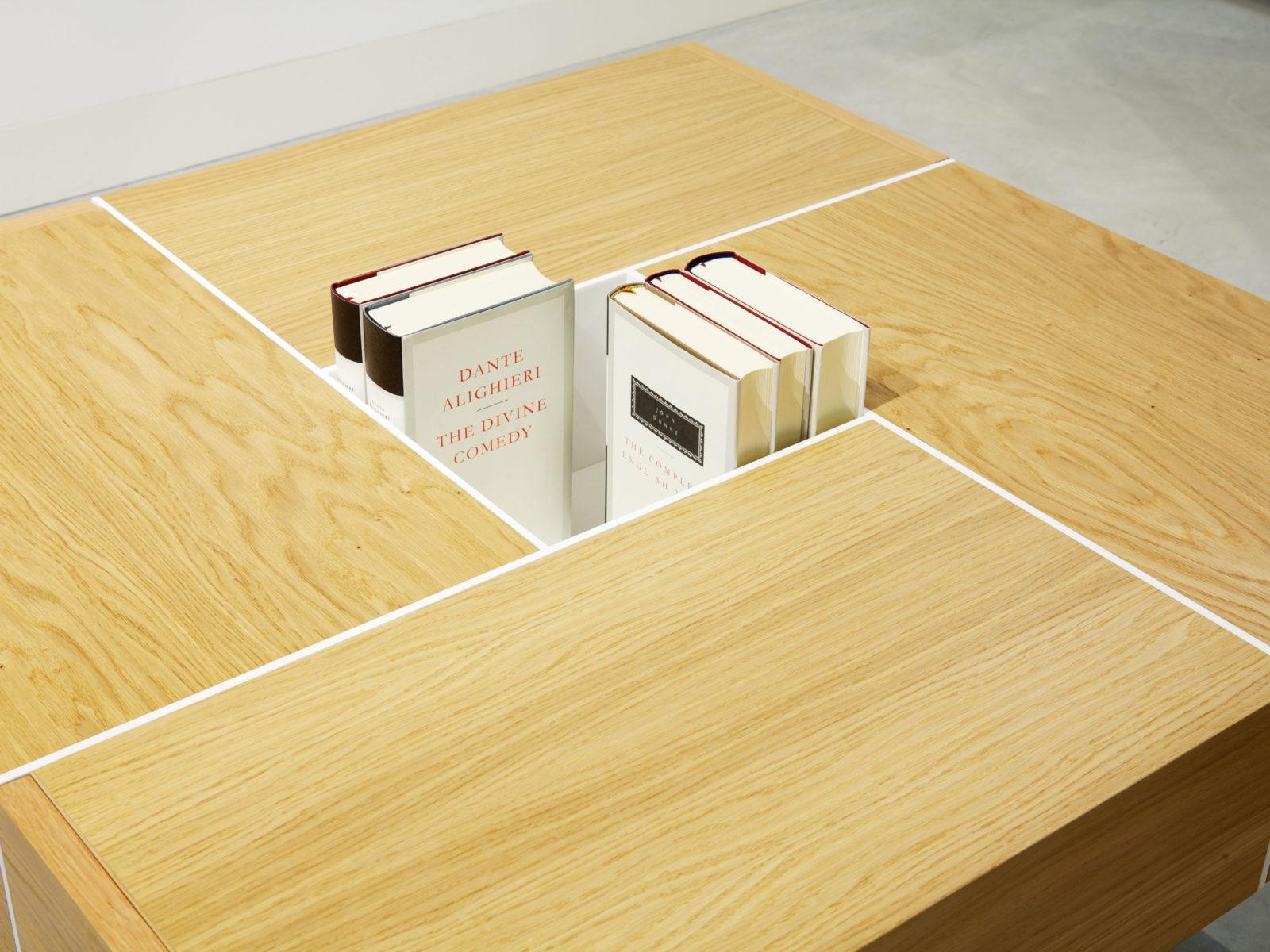 Oak veneer coffee table with white Corian inlay
