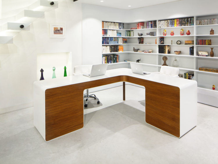 walnut veneer and corian desk