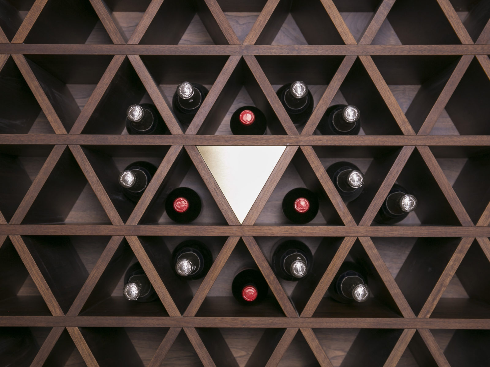 wine cellar feature wall close up