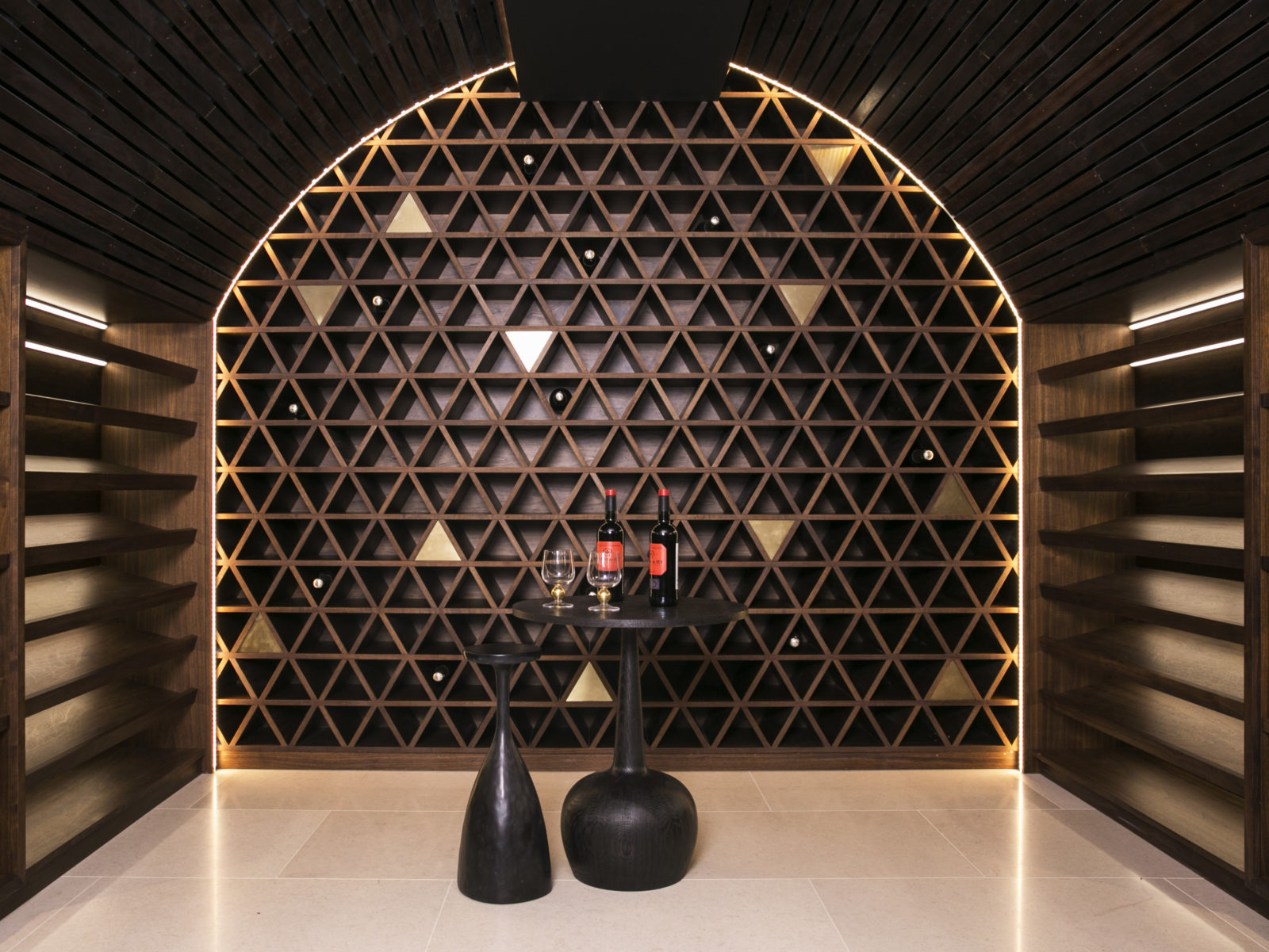 curved cellar with feature wall and LED lighting
