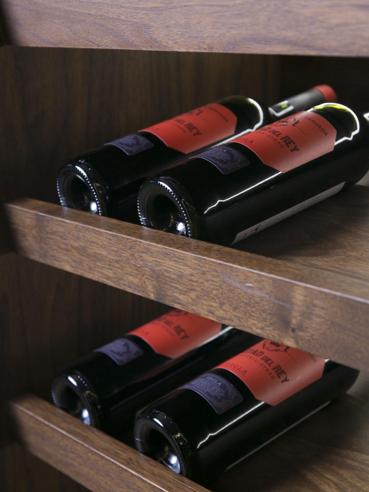 wine cellar walnut shelf