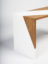 oak veneer and white lacquered desk detail