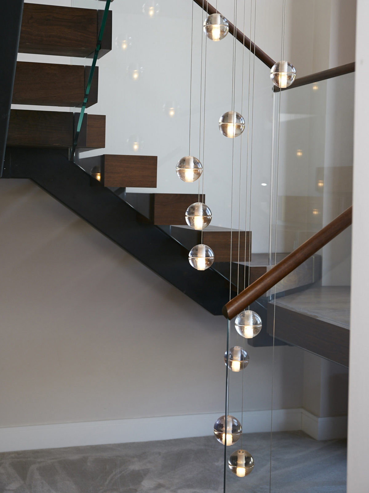 Study staircase with Bocci lights